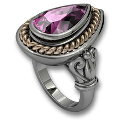 Silver Kunzite Ring with Gold Detail