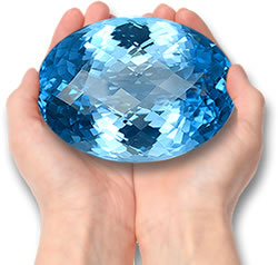 A Large Swiss Blue Topaz Gemstone