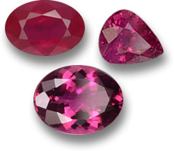 Red for Passion: Ruby (Top) and Rubellite Tourmaline (Bottom)