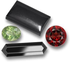 Hematite, Demantoid Garnet, Almandine Garnet, & Black Tourmaline Gemstones