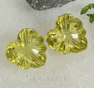Fancy Carved Yellow Quartz Matched Pair
