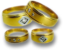 Men's Gold Bands with Diamond Accents