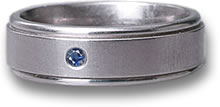 Men's Titanium and Sapphire Wedding Band