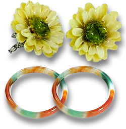 Mod-Style Flower Earrings and Multicolored Jade Bangles