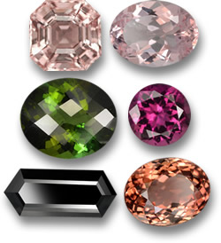 Morganite (Top) and Tourmaline Gemstones