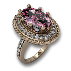 Gold Morganite GemSelect Halo Ring