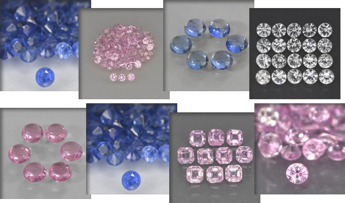 Calibrated natural sapphire lots in different shapes, sizes and colors