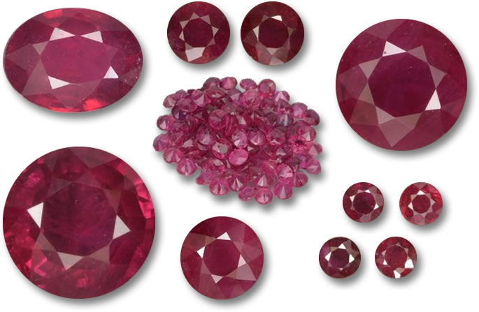 natural rubies in different shapes and sizes from Burma and Mozambique, they are heated only