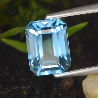 Octagonal, Step-Cut Swiss Blue Topaz Gem