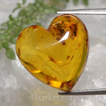 Natural Heart-Shaped Amber Gemstone