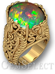Ornate Gold Opal Cabochon Ring