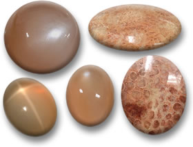 Peach Cabochons: Moonstone (Left) & Fossil Coral (Right)