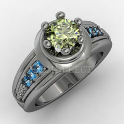 Silver Peridot Ring with Blue Topaz Accents