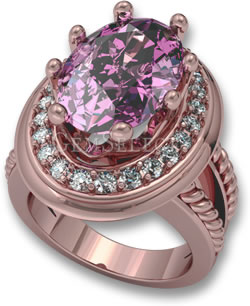 Rose Gold Halo Ring with Pink Sapphire Center Stone and White Sapphire Accent Stones