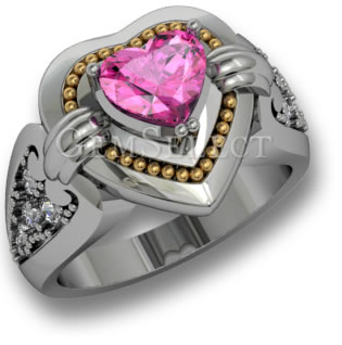 Two Tone Pink Sapphire Ring from GemSelect - Large Image
