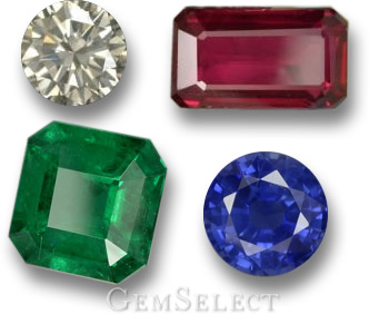 The Traditional Four Precious Gems - Diamond, Ruby, Emerald and Sapphire