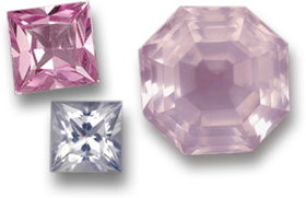 Princess-Cut Sapphires (Left) and Asscher-Cut Rose Quartz (Right)