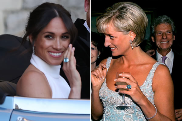 Princess Meghan & Lady Diana; aquamarine solitainre