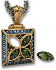 Gold Chrome Diopside and Blue Topaz Pendant with Bezel Setting