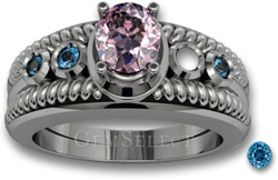 Replacing Accent Stones - Pink Spinel Ring with Blue Zircon Accent Stones
