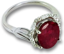 Rhodium-Plated Ruby Ring