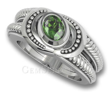 Rhodium-Plated Tsavorite Garnet Ring