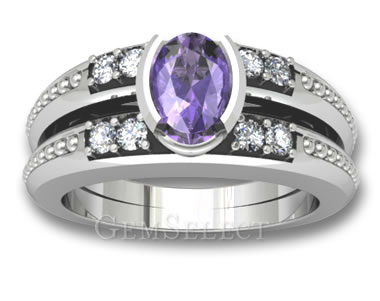Rhodium-Plated White Gold and Amethyst Ring