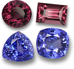 Rhodolite Garnet and Tanzanite Gemstones