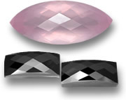 Marquise Checkerboard-Cut Rose Quartz and Rose-Cut Black Spinel