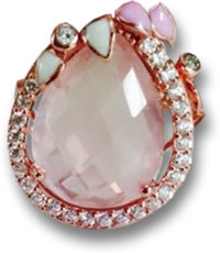 Rose Gold and Rose Quartz Ring with Pink and White Enamel and White Sapphire Accents