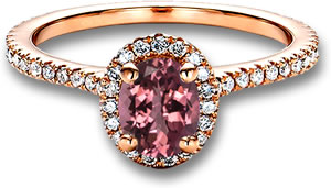 Rose Gold Engagement Ring with Pink Tourmaline and White Diamond