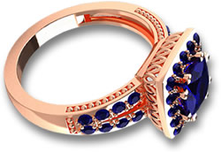 Blue Sapphire and Rose Gold Ring
