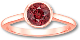 Rose Gold Malaya Garnet Solitaire Ring