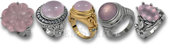 Rose Quartz Rings by GemSelect
