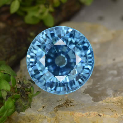 Round Blue Zircon Gemstone