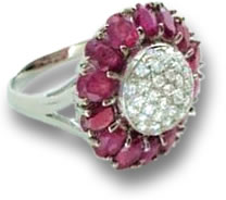 Ruby and Diamond Flower Cocktail Ring