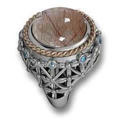 Silver Rutile Quartz Ring with Blue Topaz Accents