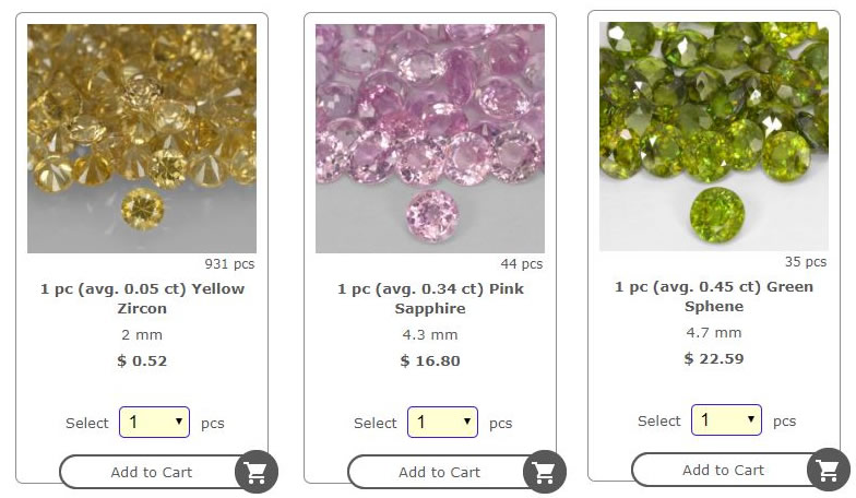 A Photo Displaying our Sell By Piece Gemstone Lots at GemSelect