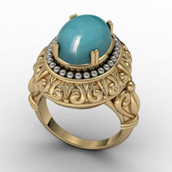 Gold and Silver Amazonite Ring