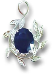 Silver, Diamond and Sapphire Necklace Pendant