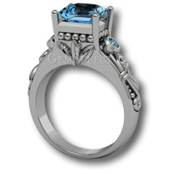 Silver Aquamarine Ring by GemSelect