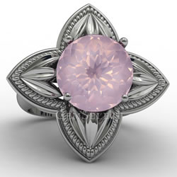 Silver Rose Quartz Ring from GemSelect