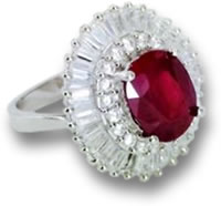Silver and Ruby Halo Ring