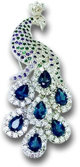 Silver, Sapphire and Tsavorite Peacock Brooch