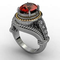 Silver Spessartite Garnet Ring with Gold Detail