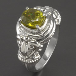Silver Sphene Ring by GemSelect