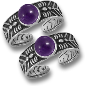 Pair of Silver and Amethyst Toe Rings