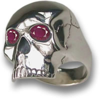 Silver Skull Ring with Ruby Eyes