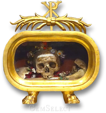 The Skull of St. Valentine of Rome in a Golden Reliquary