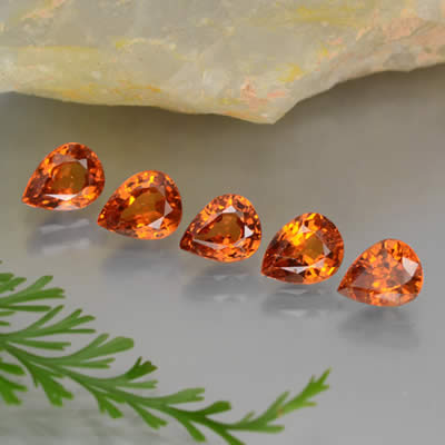 Pear-Shaped Spessartite Garnet Gems